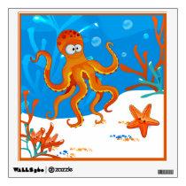 Ocean Aquatic Cute Octopus Wall Decal