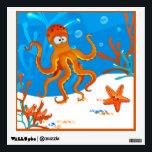 "Ocean Aquatic Cute Octopus Wall Decal<br><div class=""desc"">A  graphic aquatic illustration of cute octopus on a wall decal.  &#169;2014charmainepaulson</div>"