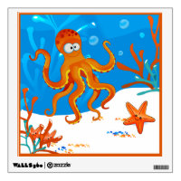 Ocean Aquatic Cute Octopus Wall Decal