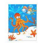 Ocean Aquatic Cute Octopus Wrapped Canvas Canvas Print