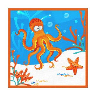 Ocean Aquatic Cute Octopus Wrapped Canvas Sq