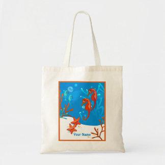 Ocean Aquatic Cute Seahorse Custom Tote Budget Tote Bag