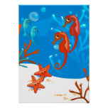 Ocean Aquatic Cute Seahorse Starfish Poster