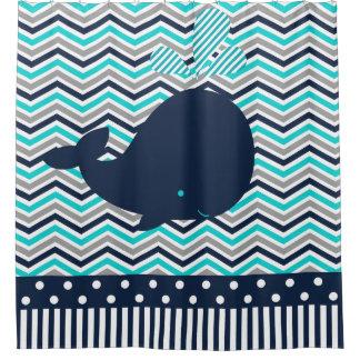 Ocean Aquatic Whale Chevron Stripes Turquoise Navy Shower Curtain