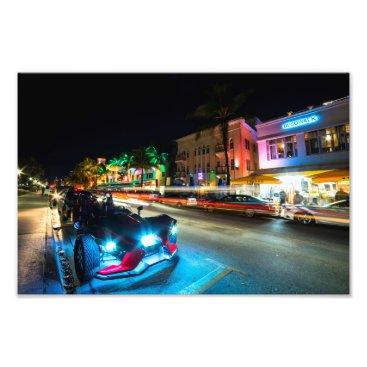 Beach Themed Ocean Ave at Night Miami Florida Art Deco Photo Print