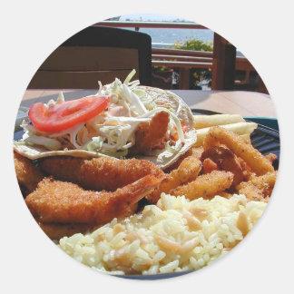 Ocean Bays Food Fried Clamari Fish Rice Plate Round Stickers