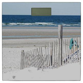 Ocean beach and beach fence bathroom scale