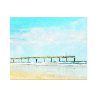 Ocean Beach and Fishing Pier Watercolor Stretched Canvas Prints