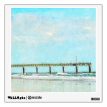 Ocean Beach and Fishing Pier Watercolor Wall Graphic