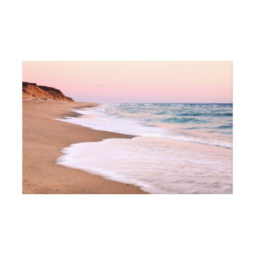 Ocean Beach and Pink Pastel Sky Gallery Wrapped Canvas
