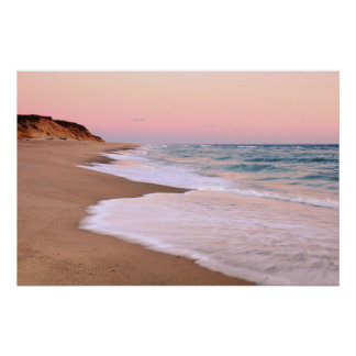 Ocean Beach and Pink Pastel Sky Poster