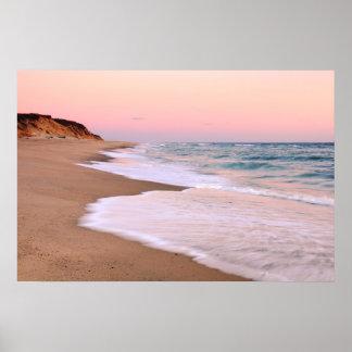 Ocean Beach and Pink Pastel Sky Posters