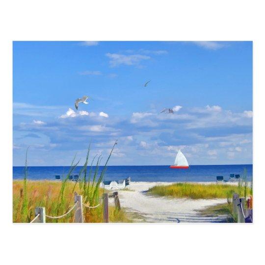 Ocean, Beach, and Sailboat Postcard