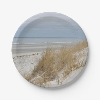Ocean Beach and sand dunes Paper Plate