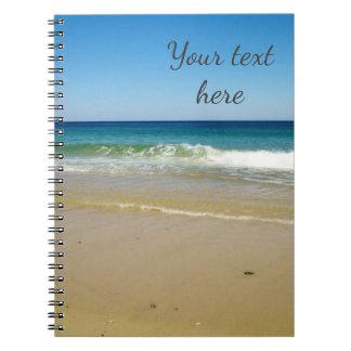 Ocean beach and waves notebook