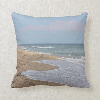 Ocean beach and waves throw pillow
