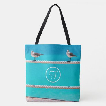 Beach Themed Ocean beach birds photo custom monogram tote bag