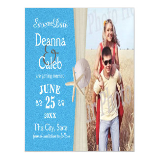 Ocean Beach Blue Photo Save the Date Magnetic Card