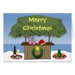 Ocean Beach Christmas Tiki Hut Bar Champange Beer Card