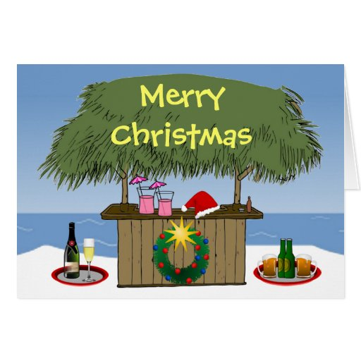 Ocean Beach Christmas Tiki Hut Bar Champange Beer Greeting ...