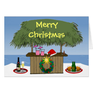 Ocean Beach Christmas Tiki Hut Bar Champange Beer Greeting Card