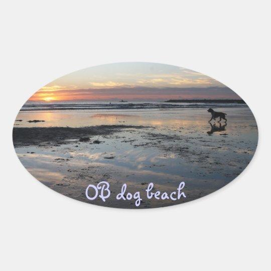 Ocean Beach, dog beach Oval Sticker