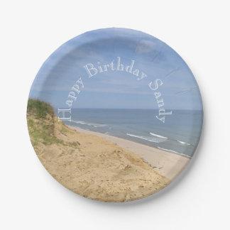 Ocean beach from the bluff paper plate