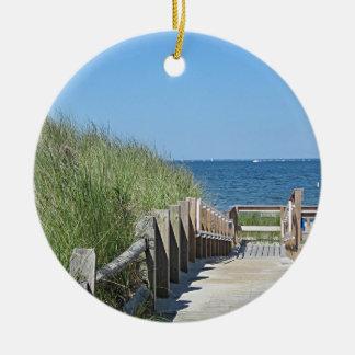 Ocean beach photo ceramic ornament