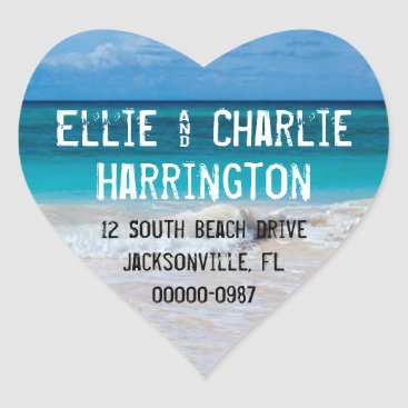 sandpiperwedding Ocean Beach Return Address Heart Shaped Stickers