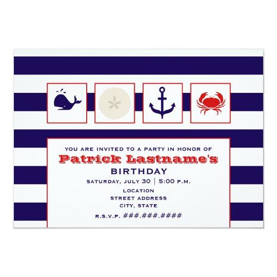 Ocean / Beach / Sailing Birthday Party Card