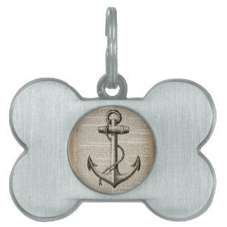 ocean beach  sailor vintage nautical anchor pet tag