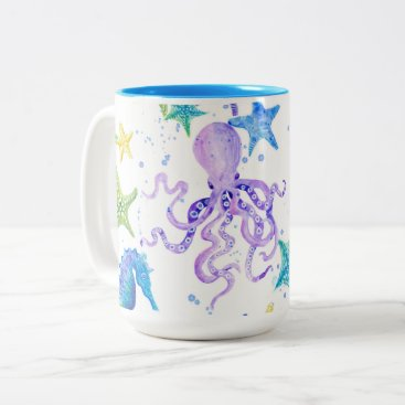 Beach Themed Ocean Beach Sea Shore Octopus Starfish Seahorse Two-Tone Coffee Mug
