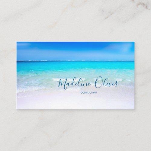 Ocean Beach Sea Travel Aqua Blue Modern Business Card