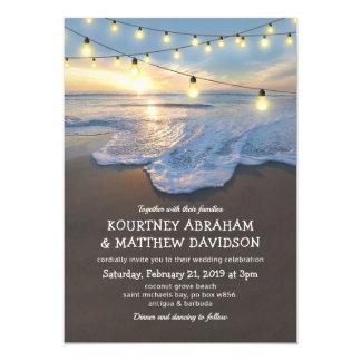 Ocean Beach Seaside String Lights Wedding Card