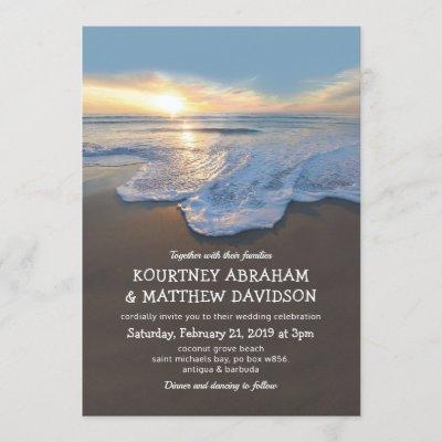Ocean Beach Seaside Summer Wedding Invitation