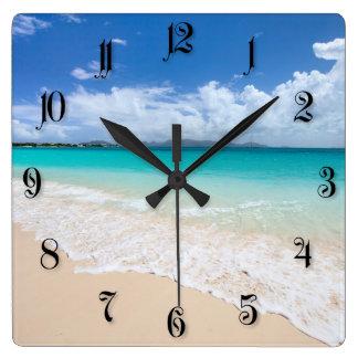 Ocean beach square wall clock