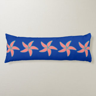 Ocean Beach Starfish Coral Pink on Blue Pattern Body Pillow