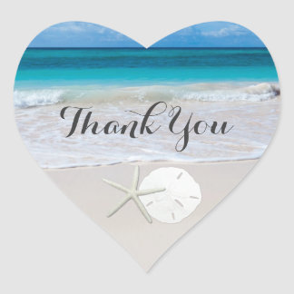 Ocean Beach Starfish Sand Dollar Thank You Heart Sticker