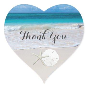 Valentines Themed Ocean Beach Starfish Sand Dollar Thank You Heart Sticker