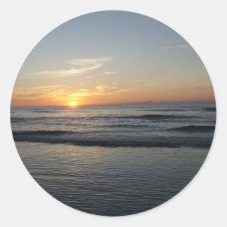 Ocean beach sunrise color photo stickers
