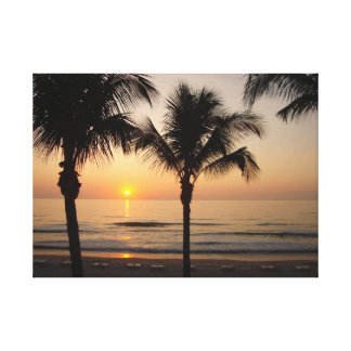 Ocean Beach Sunset Photography Art Canvas Pretty Stretched Canvas Prints