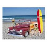 Ocean/Beach/Surfing/Woodie Post Card