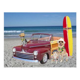 Ocean/Beach/Surfing/Woodie Postcard
