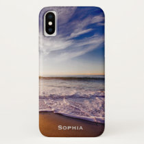 Ocean Beach Vacation Monogram Name iPhone X Case