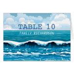 Ocean Beach Waves Wedding Table Numbers Card