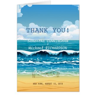 Ocean Beach Waves Wedding Thank You Card