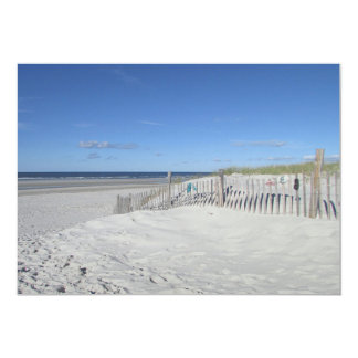 Ocean beach with dune and weathered fence card