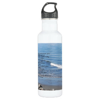 "Ocean beach with poem ""Gifts of a Day"" 24oz Water Bottle"