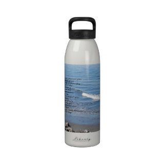 """Ocean beach with poem """"Gifts of a Day"""" Reusable Water Bottles"""