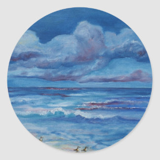 Ocean Birds Classic Round Sticker